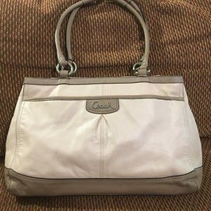 COACH PARK Cream/Taupe  Leather Pleated Carry All